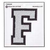 Silver Sequin Iron-On Letter - F
